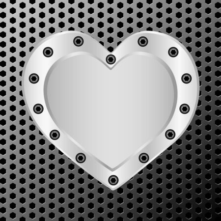 illustration of a silver heart on metal background Ilustração