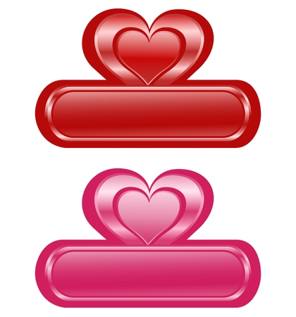 romance: illustration of the two Valentine glossy banners with Heart.