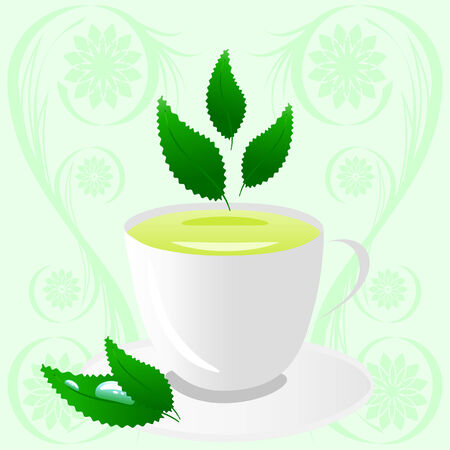 Vector illustration of a cup of green tea with leaves Vector