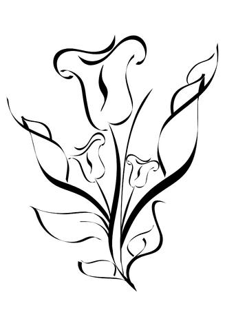 白い背景で隔離の花のシルエットのベクトル イラスト  イラスト・ベクター素材