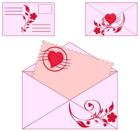 Vector illustration of an envelopes with floral ornament and heart.