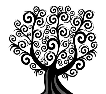 tree isolated: Vector illustration of a curl tree isolated on white background