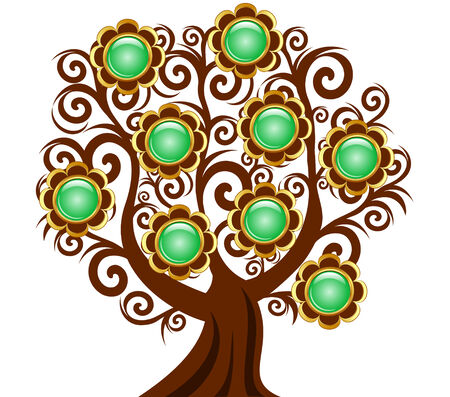 Vector illustration of a curl tree with flower buttons isolated on white background