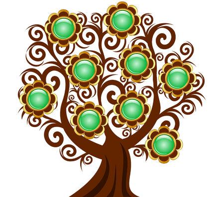 Vectorillustratie van een curl boom met bloem knoppen geïsoleerd op witte achtergrond