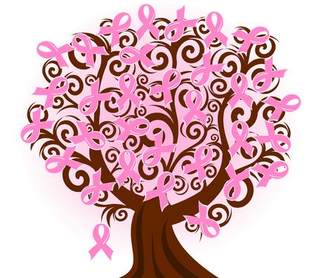 cancer ribbon: Vector illustration of a breast cancer pink ribbon tree