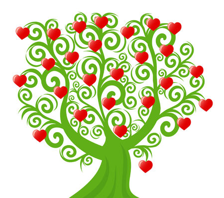 tree silhouettes: vector illustration of a curl tree with the hearts. valentines day theme