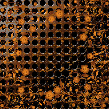 Vector illustration of a  grunge metal texture  with floral ornament on it. Vector