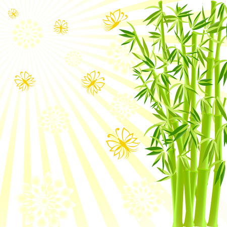 tree silhouettes: vector illustration of a bamboo with butterflies on sunny background Illustration