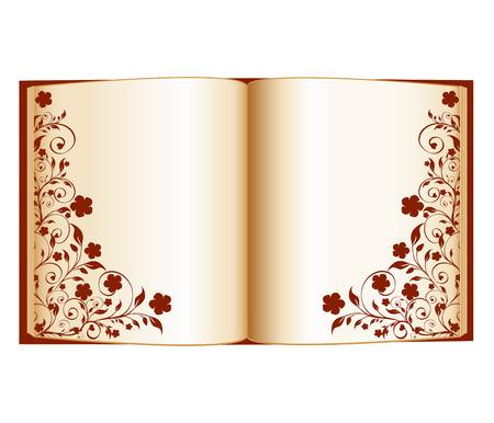vectorillustratie van een open boek met florale decoratie geïsoleerd op een witte achtergrond