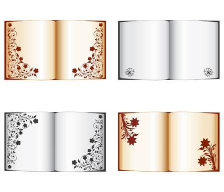 illustratie van een set van open boeken met florale decoratie geïsoleerd op een witte achtergrond Stock Illustratie