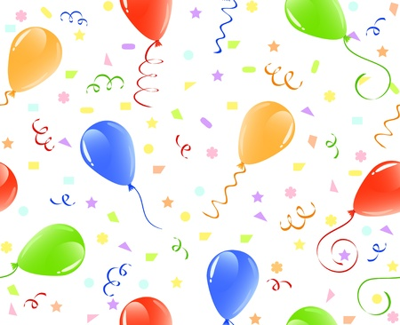 shiny background: illustration of a seamless balloons background with confetti.