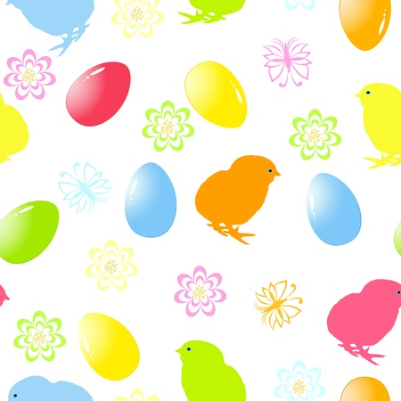 chick: illustration of a seamless easter background  Illustration