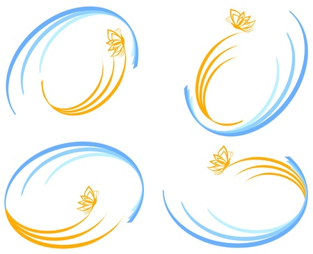illustration of a set of blue waves with orange butterfly. Can be used as logo. Stock Vector - 9305158