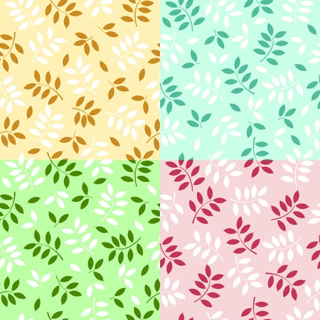 illustration of a set of seamless leaves backgrounds  Stock Vector - 9305161