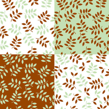 illustration of a set of seamless backgrounds made with leaves Stock Vector - 9305160