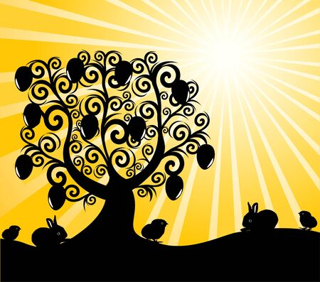 passover and easter chick: vector illustration of an Easter tree on sunny background