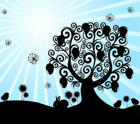 vectorillustratie van een boom Pasen op zonnige achtergrond