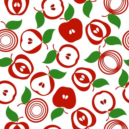 simple: vector illustration of an apple seamless background