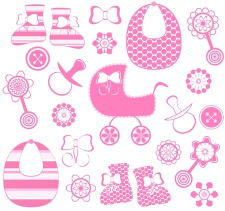 rammelaar: vectorillustratie van een meisje pasgeboren collectie Stock Illustratie