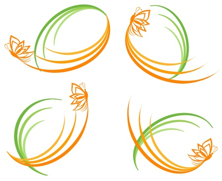 vector illustration of a set of a green waves with orange butterfly. Can be used as logo. Stock Vector - 9354967