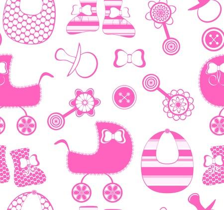 illustratie van een naadloze achtergrond met een pasgeboren meisje collectie Vector Illustratie