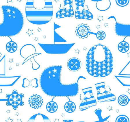 toys pattern: illustration of a seamless background with a newborn boy collection