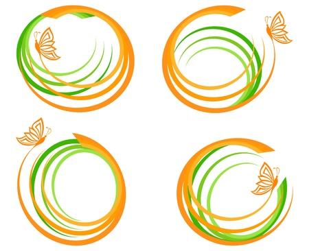 オレンジ色の蝶と緑の波のセットのベクトル イラスト。ロゴとして使用することができます。