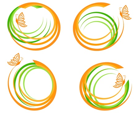 vector illustration of a set of a green waves with orange butterfly. Can be used as logo. Vettoriali