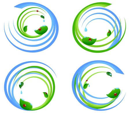 illustration of a set  of an environmental design elements. Vector