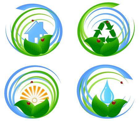환경 디자인 요소 집합의 그림.