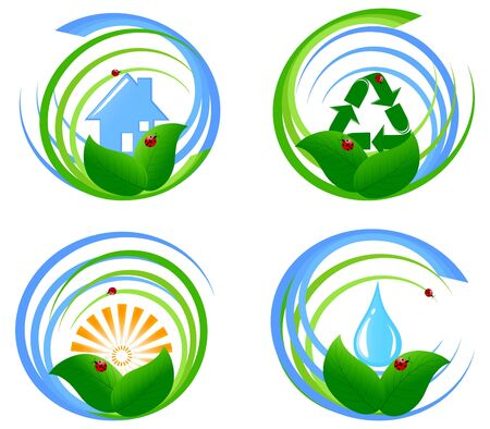 illustration of a set  of an environmental design elements. Vectores