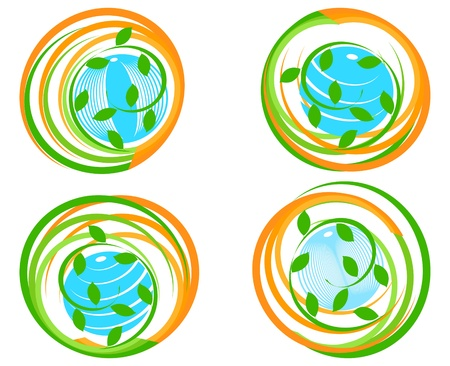 vector illustration of a set of a green icons with planet. Can be used as logo. Stock Vector - 9458379