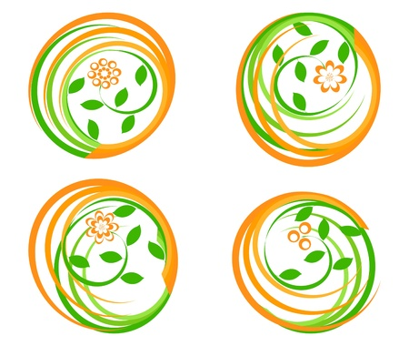 vector illustration of a set of a green icons with flower. Can be used as logo. Stock Vector - 9458380