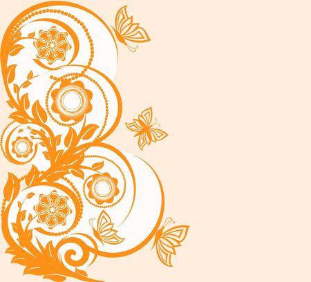 Illustrazione vettoriale di uno sfondo floreale con le farfalle. Archivio Fotografico - 9531473