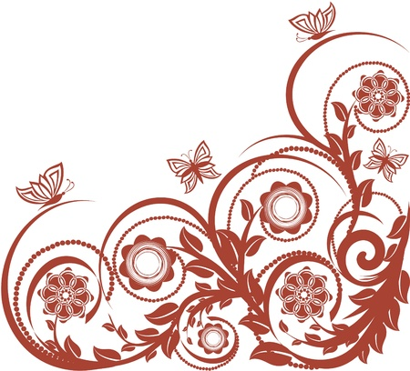 vector illustration of a floral background with butterflies. Stock Vector - 9531474