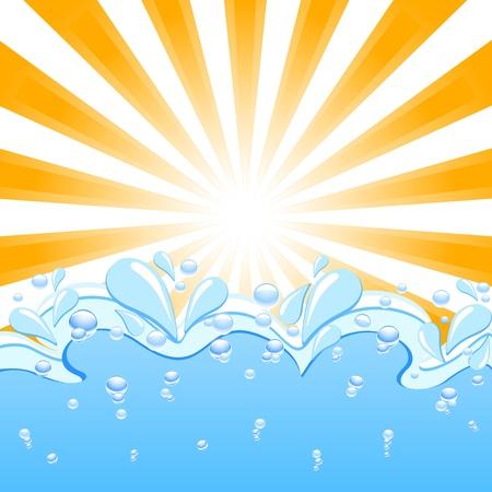 rayos de sol: Ilustración vectorial de un sol con las olas y el agua cae Vectores