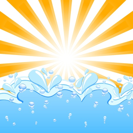 flowing water: Vector illustration of a sun with the waves and water  drops