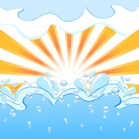 Vector illustration of a sun with the waves and water  drops Vector