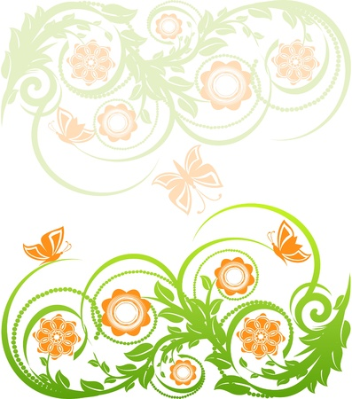 vector illustration of a floral background with butterflies. Stock Vector - 9531480