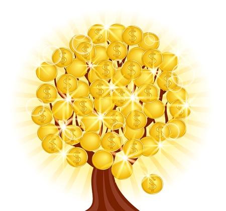 ganancias: ilustraci�n vectorial de un �rbol de dinero con monedas sobre fondo soleado Vectores