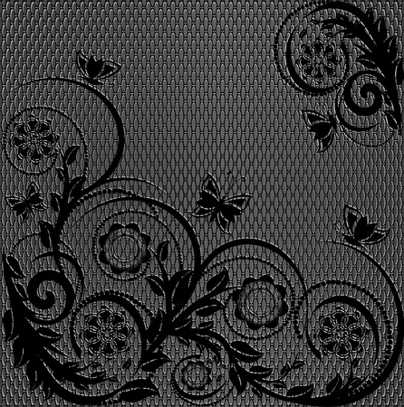 illustration of a wire metal texture with floral ornament Stock Vector - 9601590