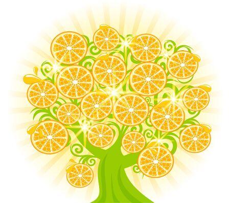 illustratie van een boom met plakjes sinaasappels.
