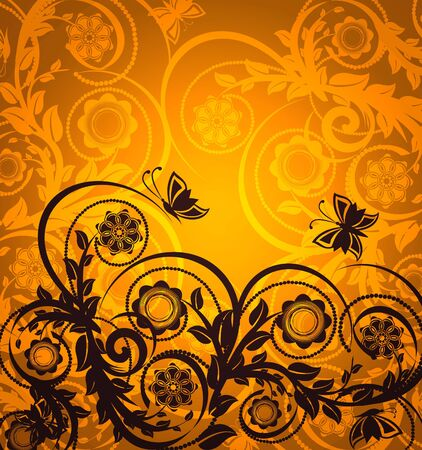 vector illustration of an orange floral ornament with butterfly Vectores