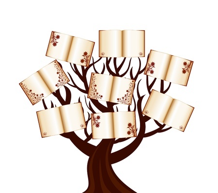 Vector illustration of a tree with the books Illusztráció