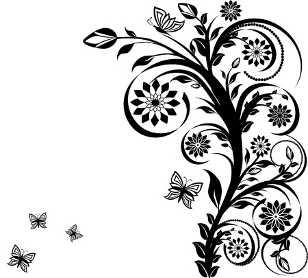 vector illustration of a floral ornament with butterflies. Stock Vector - 10302041