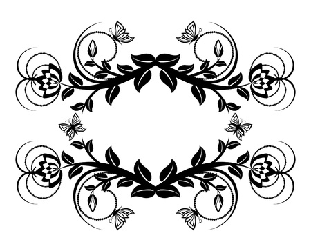 vector illustration of a floral ornament with butterflies.