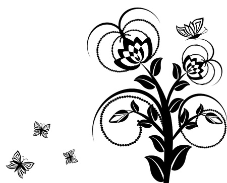 vector illustration of a floral ornament with butterflies. Stock Vector - 10302038