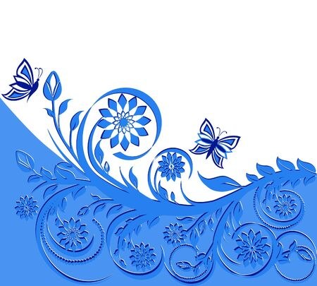 vector illustration of a blue floral frame with butterflies. Stock Vector - 10302047