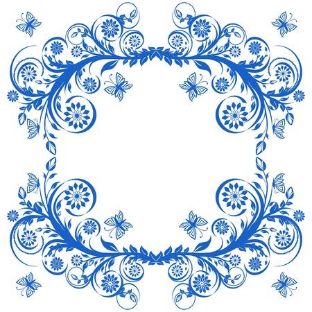 mariposa azul: ilustración vectorial de un azul marco floral con mariposas.