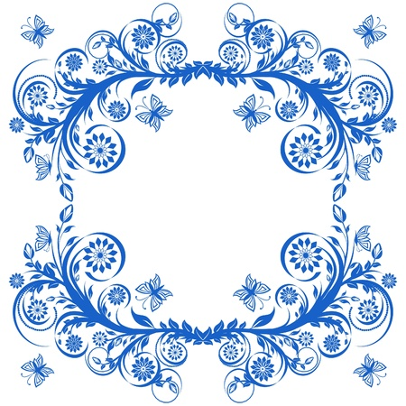 gzhel: vector illustration of a blue floral frame with butterflies.